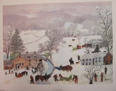 Grandma Moses Vintage Print A Frosty Day Copyright by DodadChick Weather Art, Grandma Moses, Perspective Art, Vanishing Point, Primitive Folk Art, Naive Art, Winter Scenes, American Artists, Old Photos