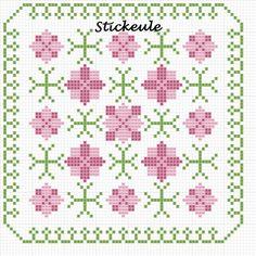 Floral Biscornu chart - stickeule