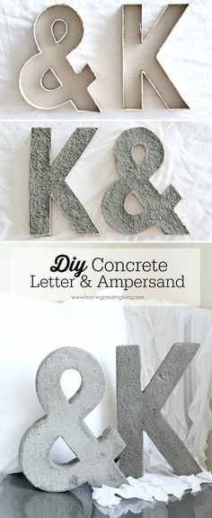 @kaybeek  DIY Projects with Letters • Lot's of easy tutorials, including this DIY concrete letter project by 'Learning, Creating, Living'!