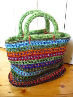 "I love the dotted stripes in Irene Lundgaard's ""Happy Handbag"" - Tapestry Crochet"
