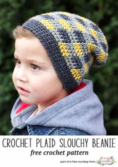 Crochet this easy plaid gingham check kids child hat from Yarnspirations from my winter kids hats free pattern roundup!