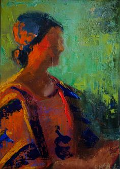 Miss Maddie by Shelby McQuilkin Abstract figurative portrait of a woman. Textured oil painting. SOLD