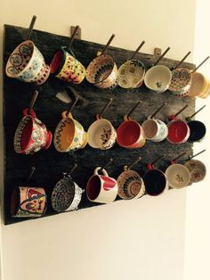 Display your mugs from Anthropologie, Urban Outfitters, Pottery Barn, Etsy or wherever you buy your favorite mugs, with this stand out rustic hand-made mug rack crafted from re-purposed wood. Rack in the pictures was made from wood that came from an old barn. You can see the weathered grey