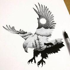 Pontilhismo fantástico de  Thiago Bianchini. #ilustração #arte #pontilhismo #dotwork #animais #natureza #noite #designerd