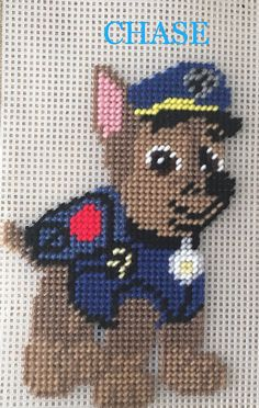 (CHASE) Paw Patrol by Marcelle Powell ❤️ Plastic Canvas Coasters, Plastic Canvas Crafts, Plastic Canvas Patterns, Cross Stitching, Cross Stitch Embroidery, Cross Stitch Patterns, Paw Patrol Masks, Paw Patrol Birthday, Baby Girl Crochet
