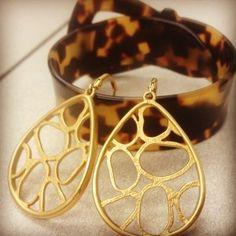 Tahari gold drop earings and Ralph Lauren tortoise cuff