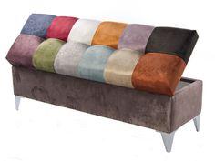 Coffre garni en tissu, style patchwork. Mod. VENEZIA Banquettes, Ottoman, Chair, Furniture, Home Decor, Style, Scrappy Quilts, Color Combinations Outfits, Fabric