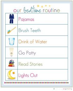 My 3 yr old loves this checklist each night. We just printed out the morning one too. eaaroach