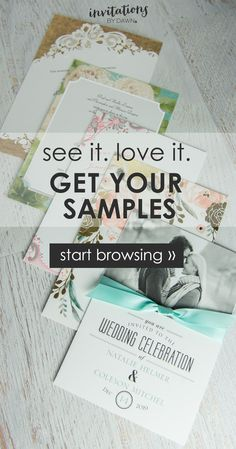 See for yourself how beautiful your wedding invitations will be. Enjoy 5 samples..for free!