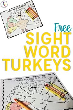 These free, printable Dolch sight word turkeys are the perfect sight words practice for November. With a fun Thanksgiving theme, they are an engaging and thematic sight word practice option. Sight Word Activities, Reading Activities, Reading Skills, Reading Lessons, Reading Resources, Word Games, Classroom Resources, Classroom Decor, Kindergarten Lessons