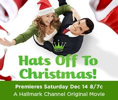 Hats Off To Christmas ~ 2013 Hallmark ~ A woman loses a promotion to her boss's son, whom she falls for as she trains him for the position. A romance soon develops, but the woman considers ending things when she has doubts about her charming new beau's reliability and his influence on her son.