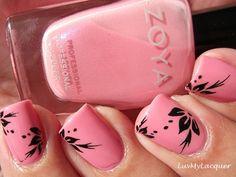pink w/ black flower design