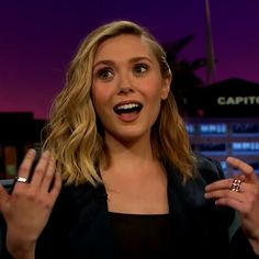The lovely Elizabeth Olsen in our White Gold #stackable Cage Bands and Cage Ring on the @latelateshow with James Corden styled by @kystyle ⚡️ #elizabetholsen #kateyoung #rings #finejewelry #mothersday #whitegold #jewelry #rachelkatzjewelry www.rachelkatzjewelry.com
