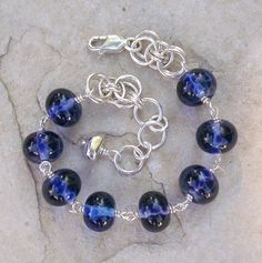 Silver and Blue Glass Bracelet Artisan Lampwork by HEvansGems