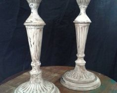 """Vintage Brass Painted Candlesticks, Candle holders, Shabby Chic Decor, Annie Sloan Old White - 9"""" Tall"""