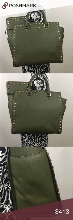 Michael Kors XL Studded Selma Set Olive color leather with gold hardware. $350 shipped. Michael Kors Bags Satchels