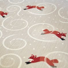fox fabric...could be used for curtains? Or even to do that wall art hanging.