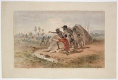 Burke and Wills Expedition / Samuel Thomas Gill. 10. Discovery of King with local Indigenous people by Howitt