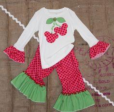 Cute Disney outfit for Jillie. Minnie Mouse Disney Couture Cherries Applique by MimiGigiandMe, $65.00