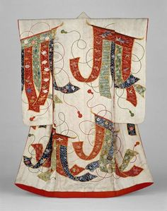 """thekimonogallery: """"Uchikake (wedding over-kimono), century, Japan. """"Long-sleeved outer robe (uchikake) for a wedding with design of curtain screens (kichô) made from lengths of fabric embroidered. Japanese Textiles, Japanese Patterns, Traditional Japanese Kimono, Traditional Dresses, Japanese Outfits, Japanese Fashion, Japanese Clothing, Shibori, Japanese Costume"""