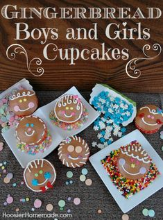 Christmas Cupcakes : Gingerbread Boys and Girls :: Click on the photo for recipe and instructions from HoosierHomemade.com