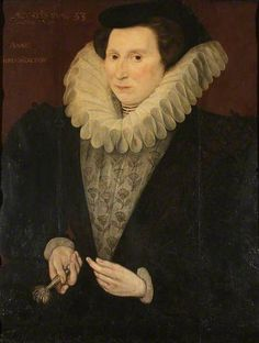 Anne Carew (1520–1587), Lady Throckmorton, Aged 53, mother of Raleigh's Bess. Her 2nd husband was Adrian Stokes, the widower of Frances Brandon Grey.