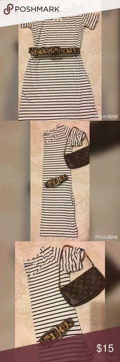 Lucky Brand Striped M Dress  Cotton Lucky Brand Striped T-Shirt  cotton Dress  with pockets - Size M Lucky Brand Dresses