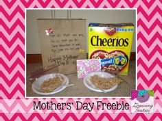 Mothers Day FREEBIE - Mini-Breakfast In Bed with kid poem. make cheerio wreath w ribbon