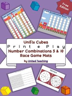 The Number Combination Race Game Mats are based on the Floor Race concept found in the Developing Number Concepts Using Unifix Cubes book by Kathy Richardson.