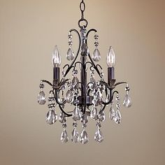 Castlewood Walnut Silver Finish 3-Light Mini Chandelier  Maybe for the upstairs bathroom?