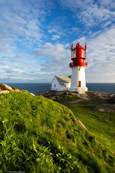 This is the Lindesnes Lighthouse illuminated by golden light before sunset on the southernmost tip of mainland Norway, the peninsula Neset. Beacon Of Hope, Beacon Of Light, Light Of The World, Rest Of The World, Sea Crafts, Before Sunset, Le Moulin, Great View, Norway