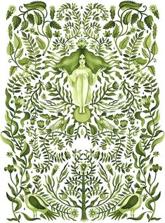 Aitch, Green botanical and leafy watercolour pattern with goddess woman Art And Illustration, Illustration Agency, Pattern Illustration, Cartoon Illustrations, Gaia Goddess, Arte Popular, Watercolor Pattern, Botanical Art, Mother Earth