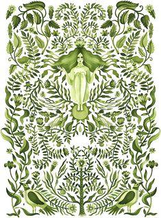 Aitch, Green botanical and leafy watercolour pattern with goddess woman Art And Illustration, Illustration Agency, Pattern Illustration, Cartoon Illustrations, Gaia Goddess, Watercolor Pattern, Botanical Art, Art Inspo, Folk Art