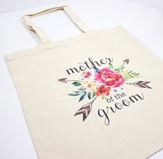 Personalized wedding tote watercolor floral by paperandspark