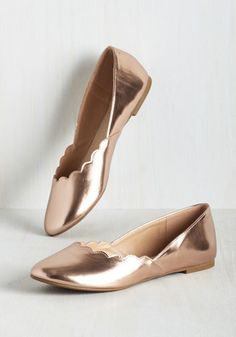 Gold slippers for the bride. Wanted Shoes, Inc. Gleam It, Do It Flat in Rose Gold Gold Wedding Shoes, Bridal Shoes, Gold Slippers, Bride Slippers, Gold Bridesmaids, Bridesmaid Dresses, Gold Flats, Metallic Flats, Rose Gold Shoes