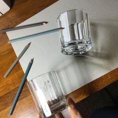 3D Drawing of a glass by marcellobarenghi.deviantart.com on @DeviantArt