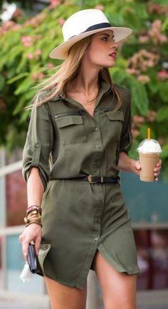 incredible summer outfit / white hat + safari dress + belt