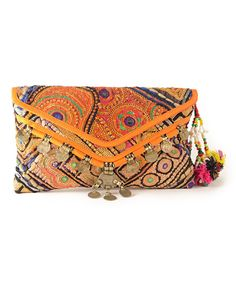 Antique Envelope Clutch Bag with Coin Tassels