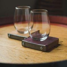 Banded Wine Barrel Coaster Set