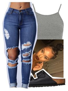 """""""6-10-16✨"""" by lookatimani ❤ liked on Polyvore featuring Topshop and Birkenstock"""