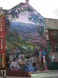 """In Philly you find """"art"""" all over - on sides of buildings like this - something you see everywhere - some by major artists, others done by regular people who are sooo talented"""