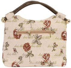 Clayre & Eef BAG139 Tasche Handtasche Henkeltasche Stofftasche Blumen ca. 34 x 26 x 12 cm