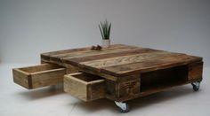 Ajouter des tiroirs à une table basse en palette    http://www.homelisty.com/customiser-meubles-palette/