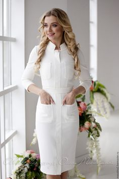 "Stylish white dress ""The white Queen"" milky colour with the relief pockets and stitching. Midi dress Stylish white dress ""The white Queen"" milky colour with [. Modest Dresses, Elegant Dresses, Casual Dresses, Fashion Dresses, Nursing Dress, Office Dresses, Business Attire, Ladies Dress Design, White Dress"
