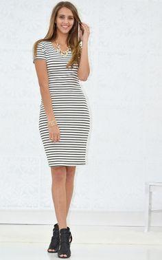 Stripe Knit Body-Con Dress - My Sisters Closet