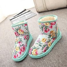 Fashion Women Winter Warm Floral Ankle Snow Boot Flats Fleece Lined
