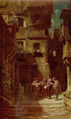 Carl Spitzweg.  Das Ständchen. Um 1860, Öl auf Leinwand, 54,5 × 32,5 cm. Süddeutschland, Privatsammlung. Genremalerei. Deutschland. Romantik, Biedermeier.  KO 00869