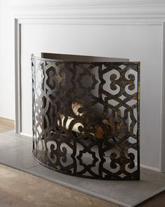 "Curved Fireplace Screen at Horchow. $365 Distinctive fireplace screen features a cut-out textile pattern and a unique curved shape.•Handcrafted of metal. •Hand-painted distressed finish. •41""W x 9.5""D x 30.5""T. •Imported. •Boxed weight, approximately 10 lbs."