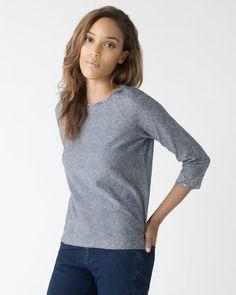 Jacquard Raglan Sweatshirt Like the contrast neckline trim.