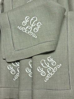 Madison Monogrammed Linen Napkins Www Bellalino